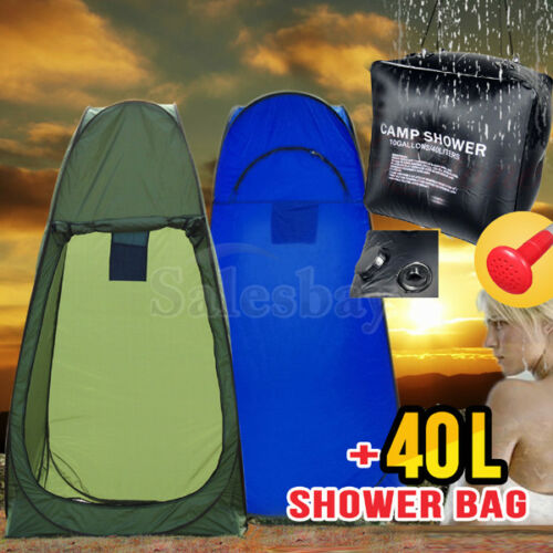 Popup Portable Shower Tent + 40L Camp Solar Shower Bag Portable Bag