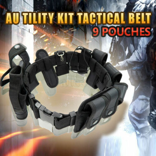 AU tility Kit Tactical Belt with 9 Pouches Police Guard Security System
