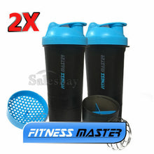 Load image into Gallery viewer, 2X 3in1 GYM Protein Supplement Drink Blender Mixer Shaker Shake Ball Bottle Cup