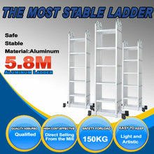 Load image into Gallery viewer, 5.7M Aluminium Ladder Extension Multipurpose Folding Adjustable steps w Foot Bar