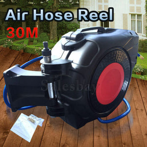 Wall Mountable 30M Air Hose Reel Auto Rewind Retractable 261PSI