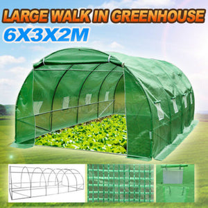 6X3X2M Large Walk In Greenhouse Green House Plant Shed PE Cover Arch Roof Tunnel