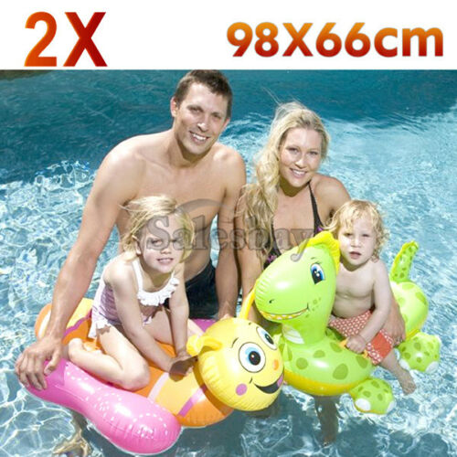 2x Airtime inflate inflatable 2 astd Dinosaur & Bee pool toy 98x66cm Kids Seat