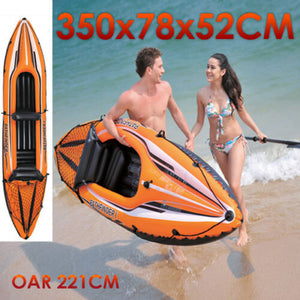 Air Inflatable Inflate 2 Person Kayak 350x78x52cm Oars 221cm Pool Toy Pathfinder