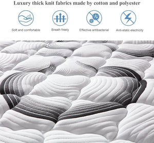 Super Firm 9 Zone Euro Top 24CM Pocket Spring Mattress Memory Foam Back Support