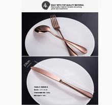 Load image into Gallery viewer, 24 pcs Stainless Steel Cutlery Set Rose Gold Knife Fork Spoon Stylish Teaspoon Kitchen