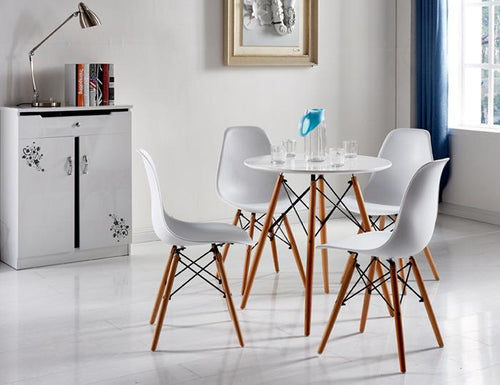 4x Replica Retro Dining Chairs Cafe Kitchen Beech (White Colour)