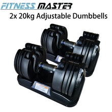 Load image into Gallery viewer, Fitness Master 2x20kg Adjustable Dumbbells Home Gym Exercise Equipment Weights Fitness 40kg Set