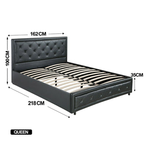 Bed Frame PU Leather Double Queen King Size Non-Gas Lift Bedroom Furniture Storage