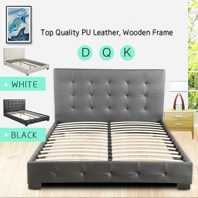Double Queen King Size Bed Frame Base & Bed Head Wooden Frame PU Leather