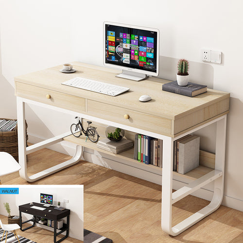 120cm Computer Desk Study Home Office Table Student Metal Workstation Storage Maple/Walnut