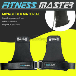 Weight Lifting Hooks Gym Gloves Wrist Support Wrap Straps Grip Pads Training