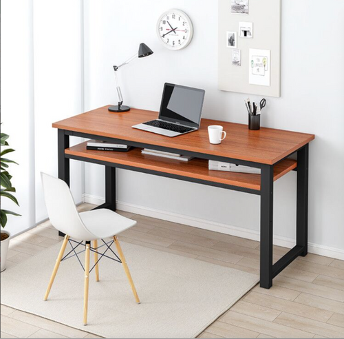 120cm Workstation Office Computer Desk Study Table Home Metal Storage Cabinet Brown Shelf