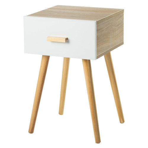 Bedside Table 1 Drawer with Legs Tables Nightstand Unit Cabinet Storage Lamp Side Table (Maple)