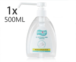 Instant Hand Sanitizer Sanitiser 500ML Gel Pump Alcohol 75% Ethanol Base -Kills 99.99% Germs