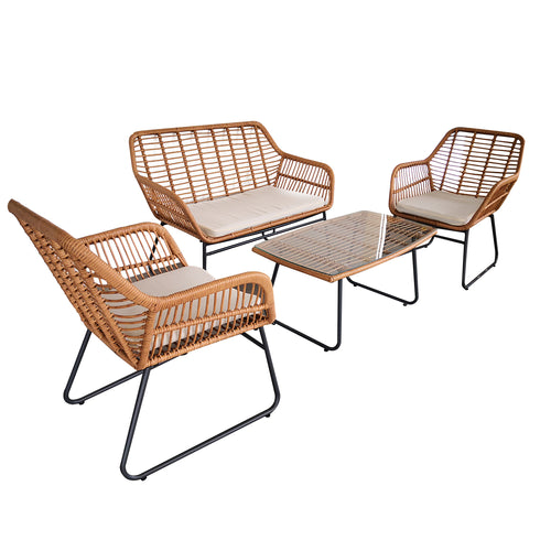 4pc Lounge Set Outdoor Furniture Rattan Wicker Chair Sofa Table Garden Patio Balcony Beige / Grey Cushion