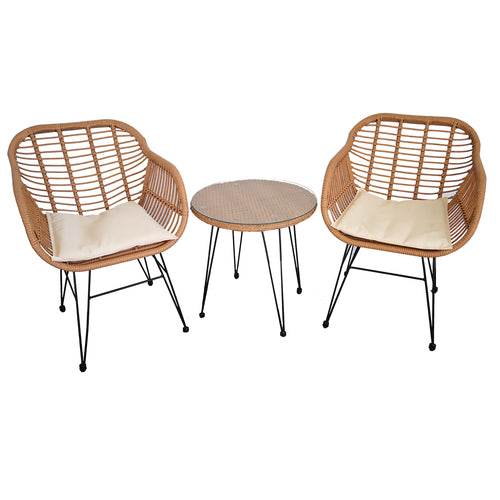 3pc Lounge Set Outdoor Furniture Rattan Wicker Chair Table Garden Patio Balcony