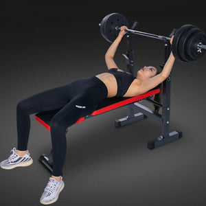 Adjustable Benches Rack Barbell Rack Weightlifting Bed Foldable Press GYM