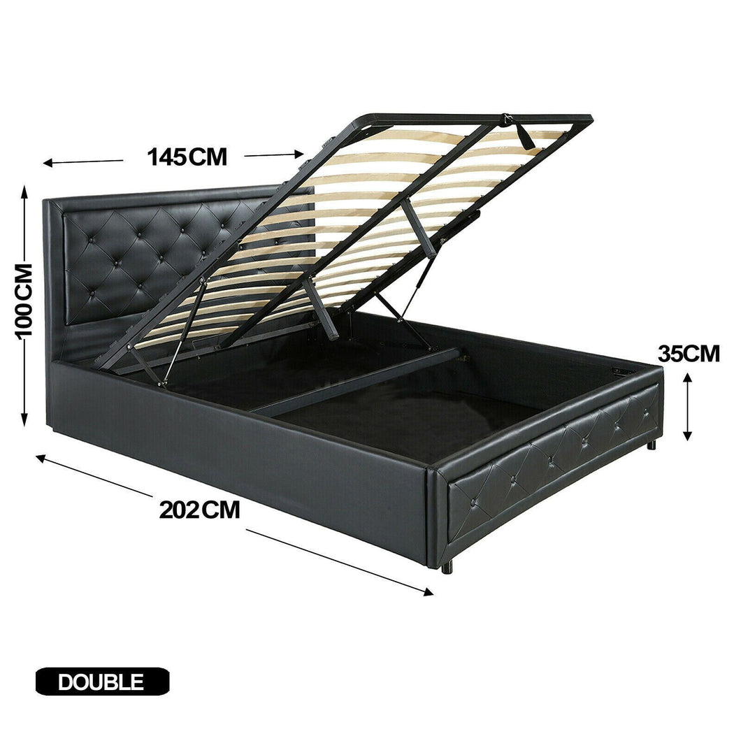 Bed Frame PU Leather Double Queen King Size Gas Lift Bedroom Furniture Storage