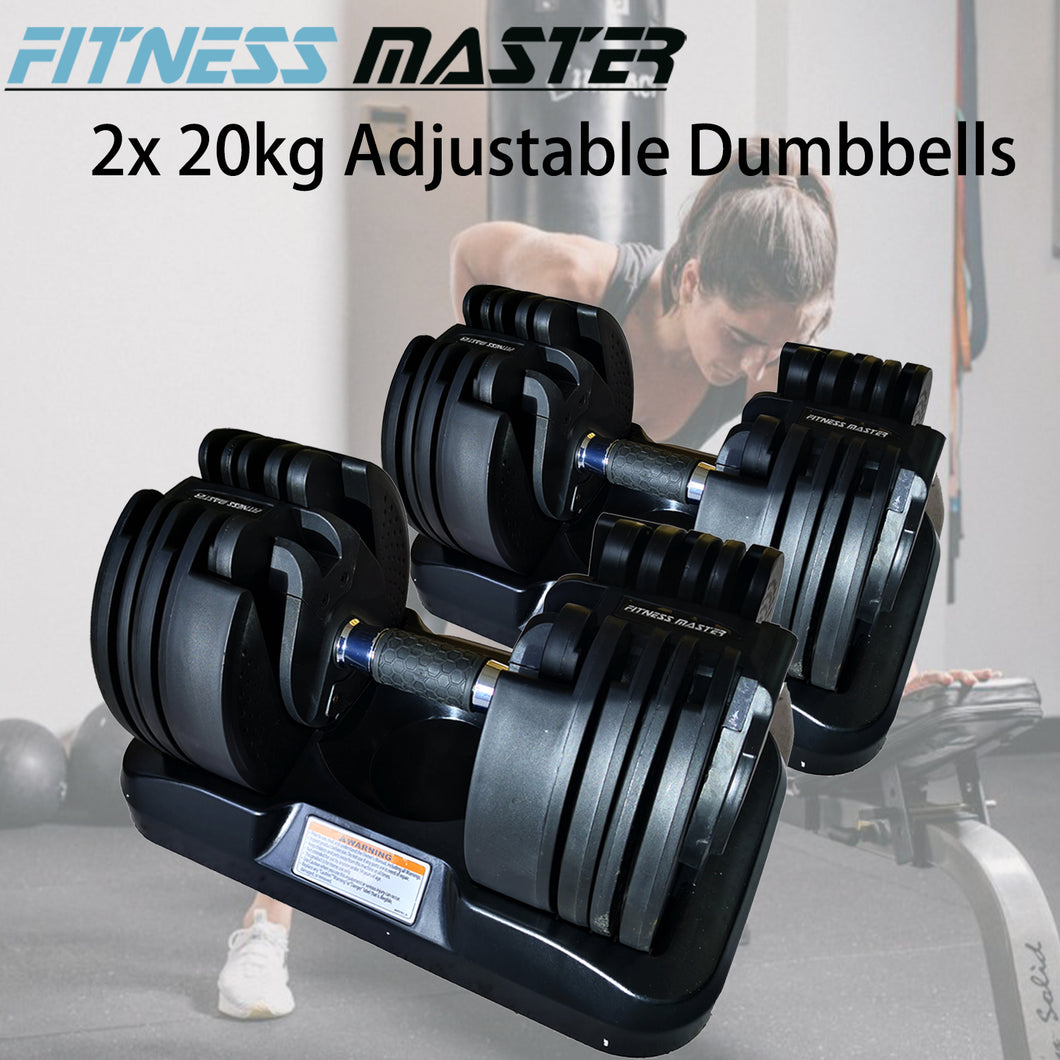 Fitness Master 2x20kg Adjustable Dumbbells Home Gym Exercise Equipment Weights Fitness 40kg Set