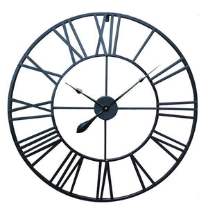 80cm Large Round Wall Clock Metal Industrial Vintage French Provincial Antique
