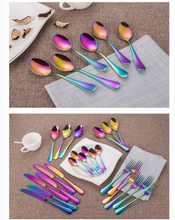 Load image into Gallery viewer, 60 pcs Stainless Steel Cutlery Set Rainbow Knife Fork Spoon Stylish Teaspoon Kitchen