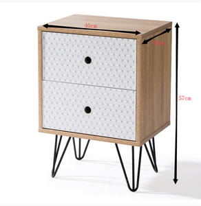 Bedside Table Prism Design 2 Drawers with Legs Tables Nightstand Unit Cabinet Storage Lamp Side Table (Maple)