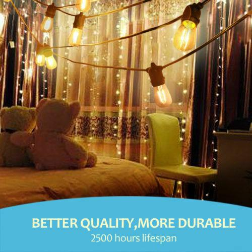 60m LED Festoon String Lights Light Wedding Party Christmas Waterproof Outdoor