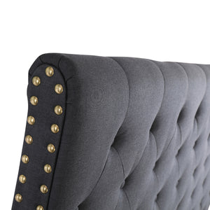 Double Size Black Color Fabric Bed Head Upholstered Headboard Bedhead Frame