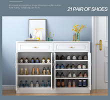 Load image into Gallery viewer, 120cm Wooden Shoe Cabinet Shoes Storage Rack 21 Pairs Wooden Organiser Shelf 2 Drawers
