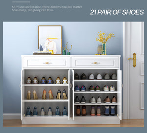 120cm Wooden Shoe Cabinet Shoes Storage Rack 21 Pairs Wooden Organiser Shelf 2 Drawers