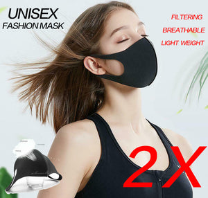 2x Black Fashion Face Mask Stretch Lightweight Fabric Covering Reusable Maskes Washable Unisex