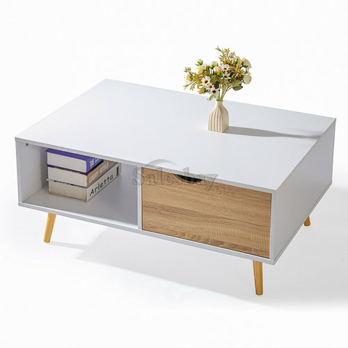 Coffee Table Tea Side Interior Storage Drawer Space Shelf 100cm x 68cm x 43cm