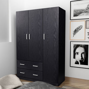 3 Doors 2 Drawers Large Wooden Wardrobe Four Colors Cloth Racks Furniture