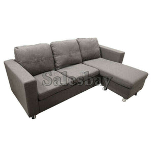 Three Seater Linen Fabric Corner Futon Sofa Chaise Couch Lounge Suit Set