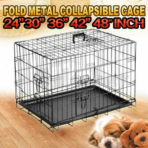 Metal Collapsible Dog Cage Kennel Crate Pet Folding Door Puppy Rabbit Playpen
