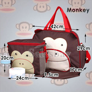 Nappy Changing Bag Baby Diaper Travel Tote Handbag Bottle Holder Mat+Organizer