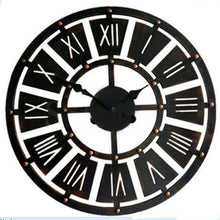 Load image into Gallery viewer, Large Metal and Wooden Industrial French Provincial Antique Round Wall Clock