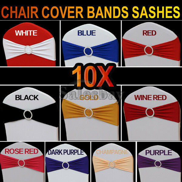 10/25 Lycra Spandex Chair Cover Bands Sashes With Buckle Wedding Event Banquet