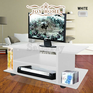 TV Stand MDF Cabinet Plasma Entertainment Unit Book Storage LCD LED Black Wheel