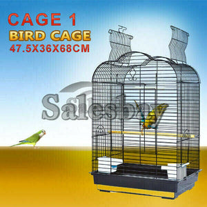 Pet Bird Cage Parrot Aviary Canary Budgie Finch Perch Black Portable w/ Perches