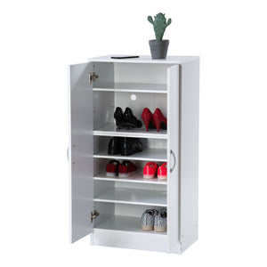 Shoe Cabinet Rack Storage Organiser Cupboard 7 Compartments Oak/White