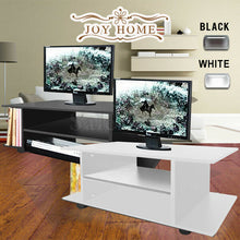 Load image into Gallery viewer, TV Stand MDF Cabinet Plasma Entertainment Unit Book Storage LCD LED Black Wheel