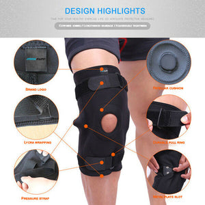 Double Metal Hinged Full Knee Support Brace Knee Protection Strap Sleeve Pad
