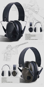 Hunting GREEN Shooting Electronic Noise Reduction Earmuffs Input Jack Ear Muffs