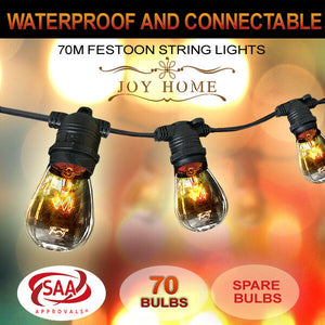 10-100m Festoon String Lights Light Wedding Party Christmas Waterproof Outdoor