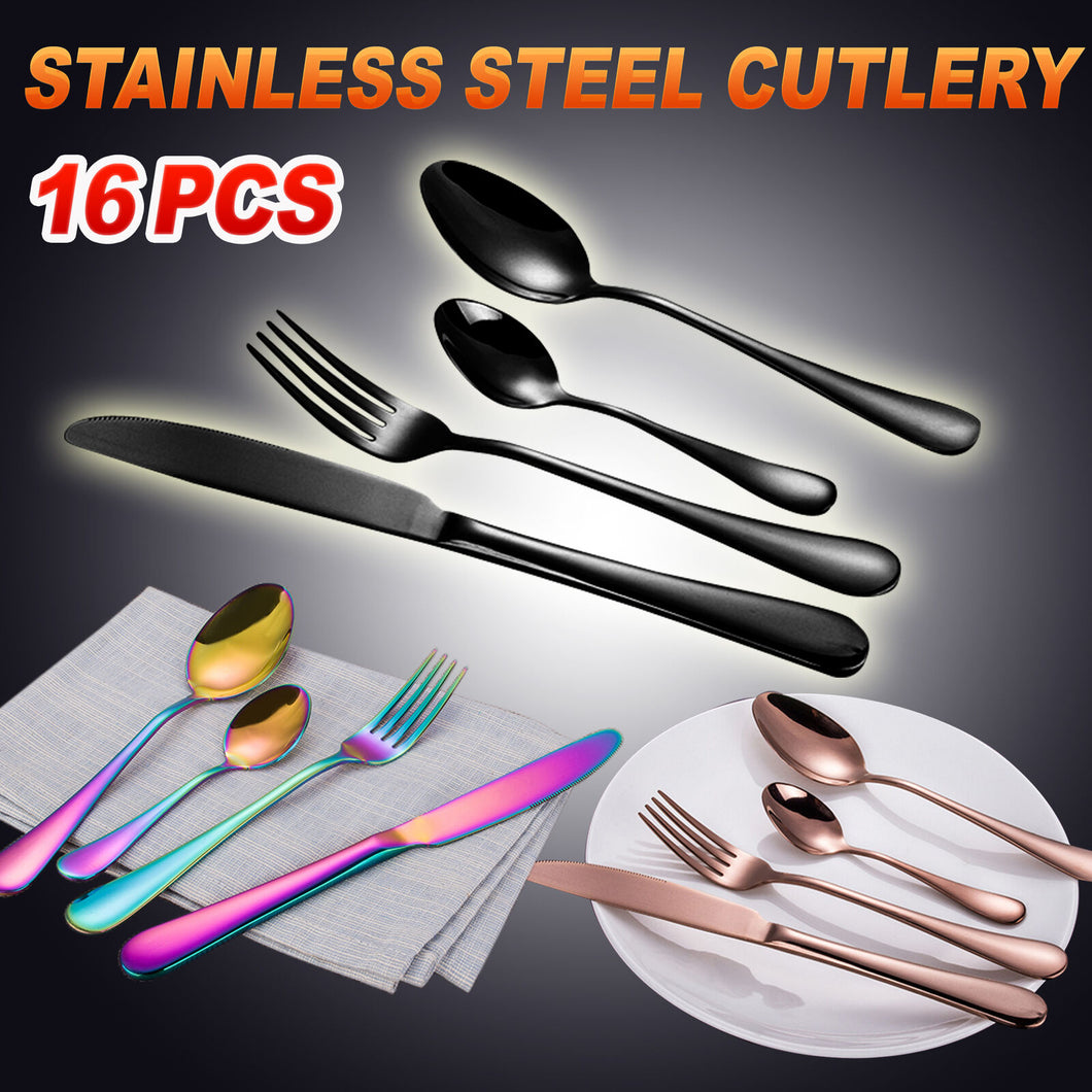 Cutlery Set 16-60 Piece Stainless Steel Black Rose Gold Rainbow Knife Fork Spoon