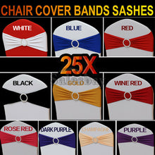 Load image into Gallery viewer, 10/25 Lycra Spandex Chair Cover Bands Sashes With Buckle Wedding Event Banquet