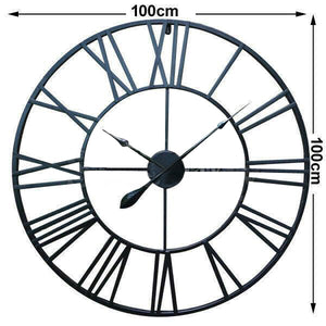 Large Metal and Wooden Industrial French Provincial Antique Round Wall Clock