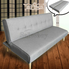 Load image into Gallery viewer, 1.8M Linen Fabric 3 Seater Sofa Bed Couch Lounge Futon Recliner Wooden Legs